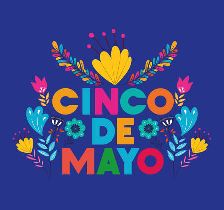 cinco de mayo card with floral decoration vector illustration design 일러스트