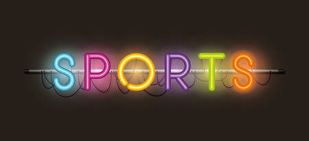 sports fonts neon lights vector illustration design