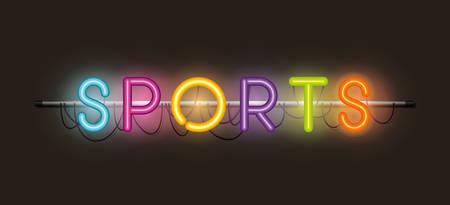 sports fonts neon lights vector illustration design