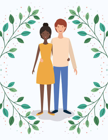 interracial lovers couple with leafs crown characters vector illustration design Ilustracja