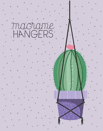 cactus houseplant in macrame hangers vector illustration design