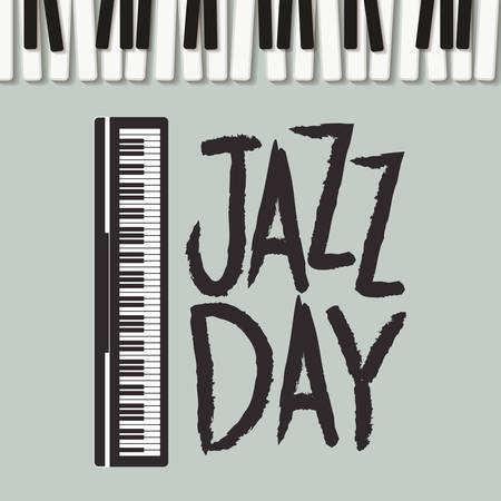jazz day poster with piano keyboard vector illustration design Vetores