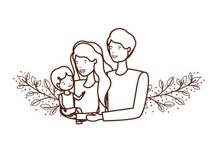 couple of parents with daughter avatar character vector illustration design