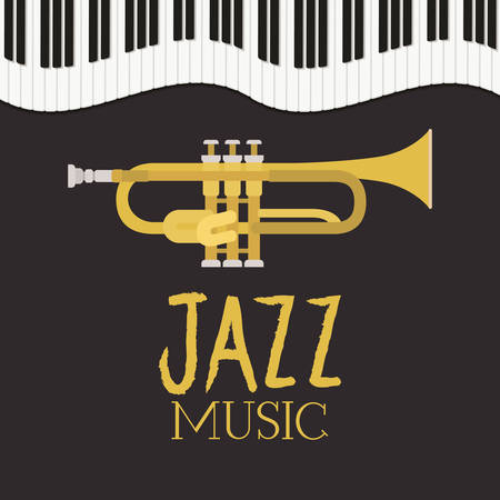 jazz day poster with piano keyboard and trumpet vector illustration design