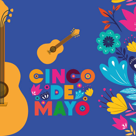 cinco de mayo card with guitars and flowers vector illustration design