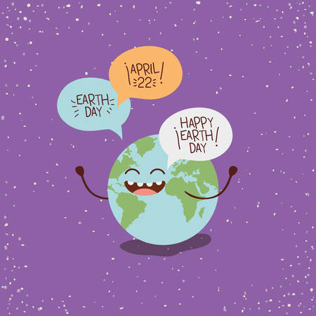 earth character with speech bubbles vector illustration design