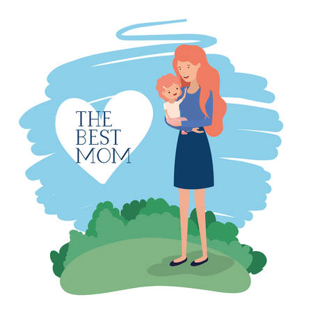 mothers day card with mother and son in the field vector illustration design
