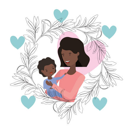 woman with baby avatar character vector illustration design Vettoriali