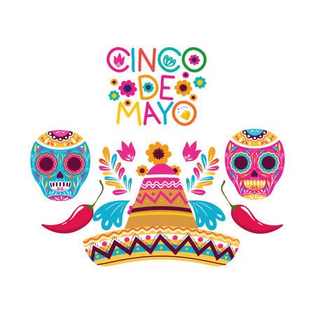 cinco de mayo label skull isolated icon vector illustration design
