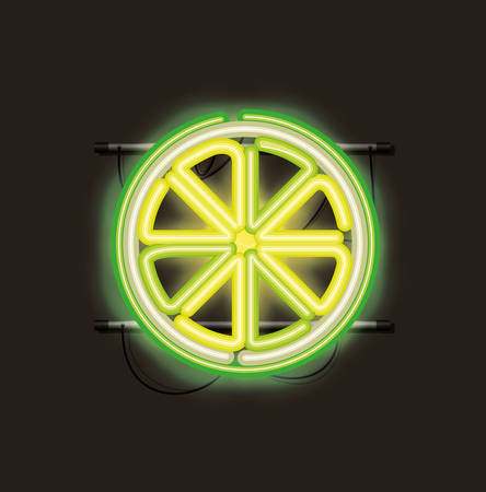 lemon citrus fruit neon lights vector illustration design Illustration
