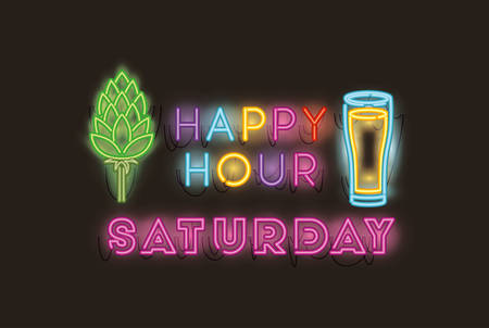 happy hour with spike and glass beer neon lights vector illustration design Illustration