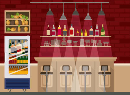bar with bottles liquor scene vector illustration design Imagens - 122610445