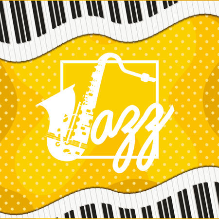 jazz day poster with piano keyboard and saxophone vector illustration design Vectores