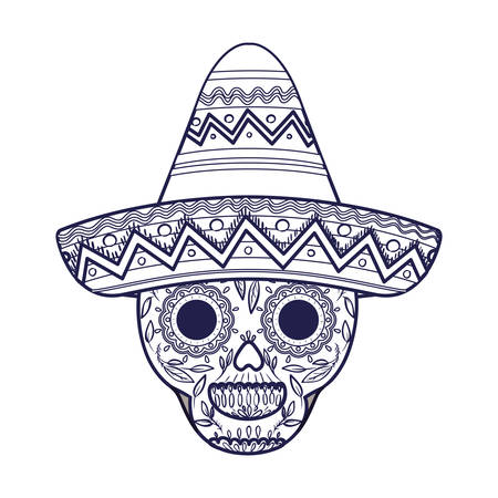 mexican skull with hat isolated icon vector illustration design