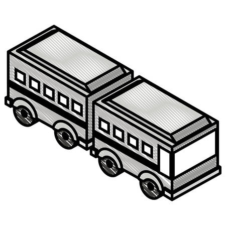 articulated bus transport isometric icon vector illustration design Иллюстрация