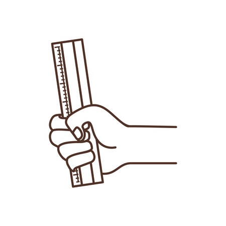hand with ruler tool isolated icon vector illustration design