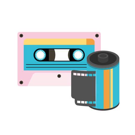 Rouleau rétro photographique et cassette 90 design d'illustration vectorielle icône