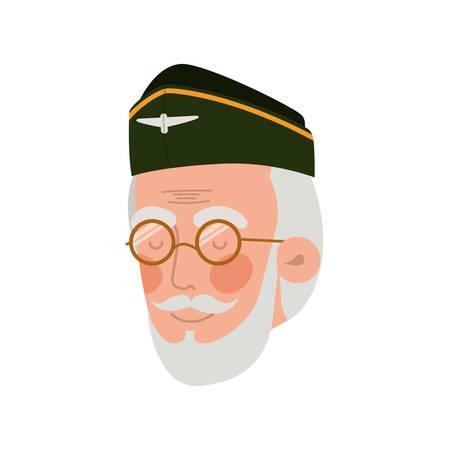 head of veteran pilot avatar character vector illustration design