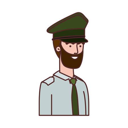 Mann Soldat des Krieges Avatar-Charakter-Vektor-Illustration-Design