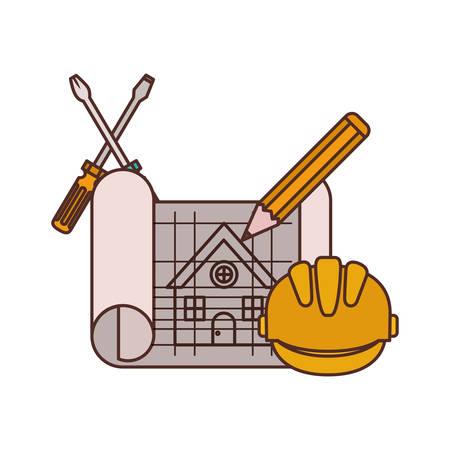 construction plan isolated icon vector illustration design Vettoriali