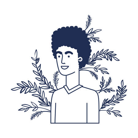 young man with branch with leaf character vector illustration design Illustration
