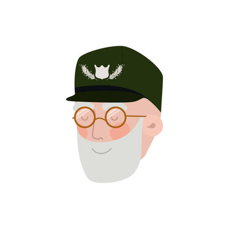 veteran head avatar character vector illustration design