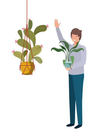 man with cactus in macrame hangers vector illustration design