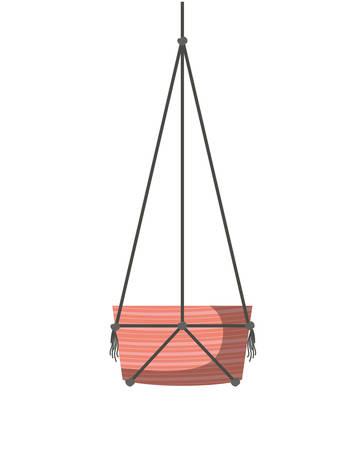 flowerpot on macrame hangers icon vector illustration design Illustration