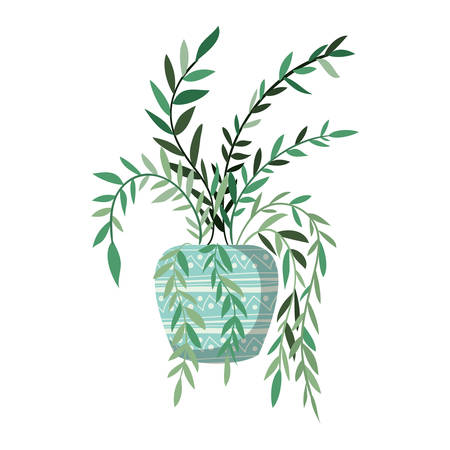 houseplant with potted isolated icon vector illustration design 向量圖像