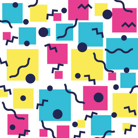 colorfull figures and lines ninetys pattern vector illustration design