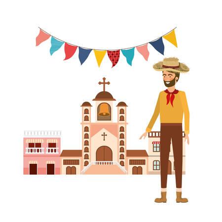 man farmer with background houses of neighborhood vector illustration design Stock Illustratie