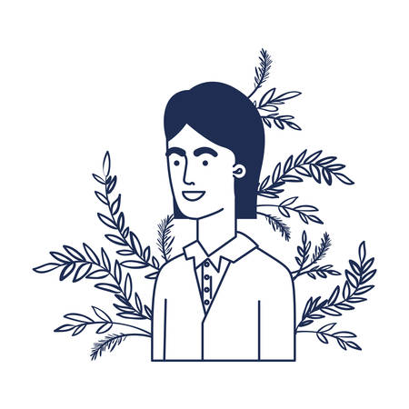 young man with branch with leaf character vector illustration design