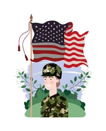 man soldier of war with landscape and united states flag vector illustration design