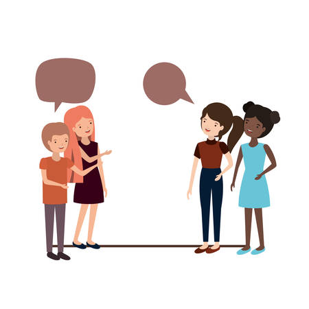 group of people with speech bubble avatar character vector illustration design Çizim