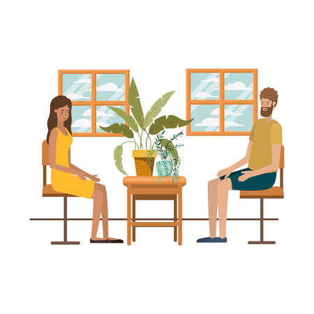 couple drinking coffee in the living room vector illustration design