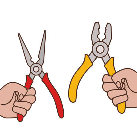 hands with splier tool isolated icon vector illustration design