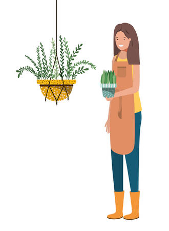 woman with houseplant on macrame hangers vector illustration design