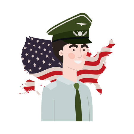 man soldier of war with flag of united states background vector illustration design Foto de archivo - 122463654