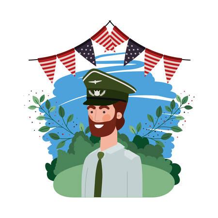 Hombre soldado de guerra con el paisaje y la bandera de los Estados Unidos, diseño de ilustraciones vectoriales