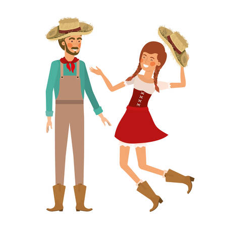 farmers couple dancing with straw hat vector illustration design 矢量图像