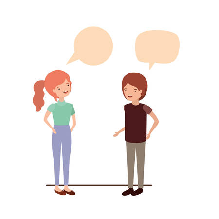 couple with speech bubble avatar character vector illustration design