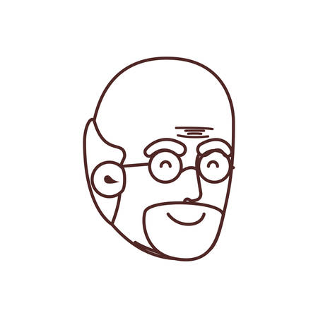 head of grandfather avatar character vector illustration design