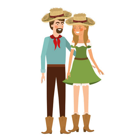 farmers couple talking with straw hat vector illustration design