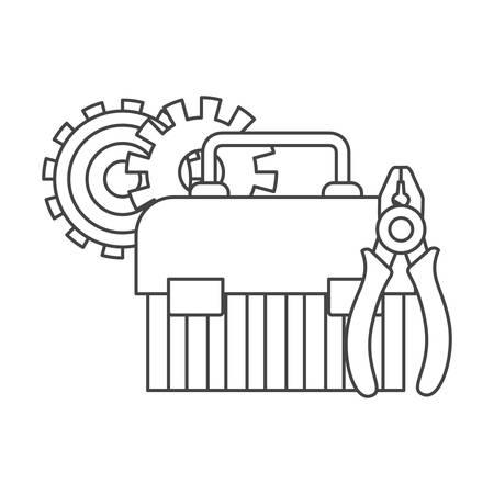Caja de herramientas de construcción, diseño de ilustraciones vectoriales icono aislado