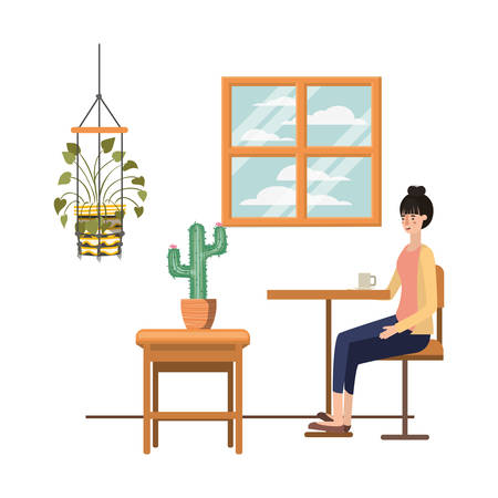 woman drinking coffee in the living room vector illustration design 向量圖像
