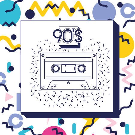 retro cassette music icon vector illustration design 向量圖像