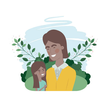 father with daughter avatar character vector illustration design Ilustração