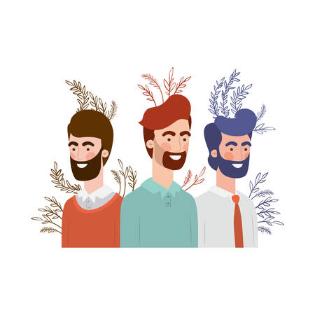 young men with branch with leaf character vector illustration design
