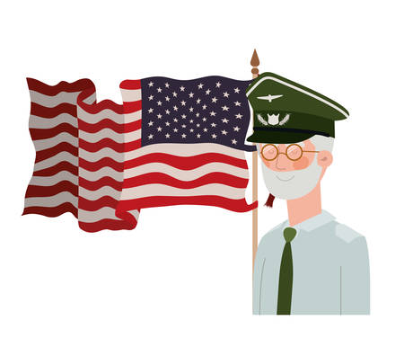veteran war old man with flag of united states background vector illustration design