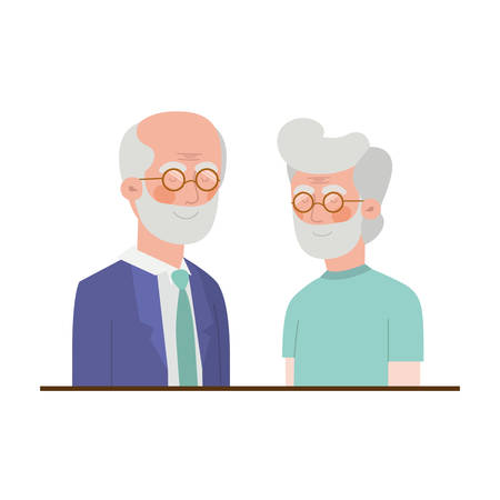 cute grandparents avatar character vector illustration design 向量圖像